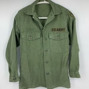 Army Green Military Jacket shirt Small Womens